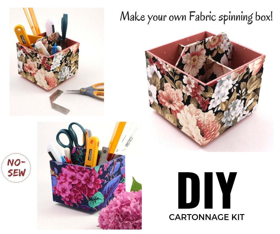 Fabric spinning box DIY kit, cartonnage kit 174, Online instructions included - Colorway Arts