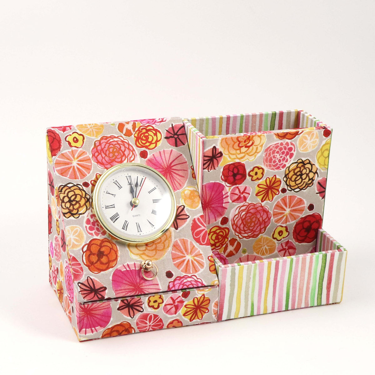 Desk clock organizer DIY kit, fabric box kit, cartonnage kit 175, Online instructions included - Colorway Arts