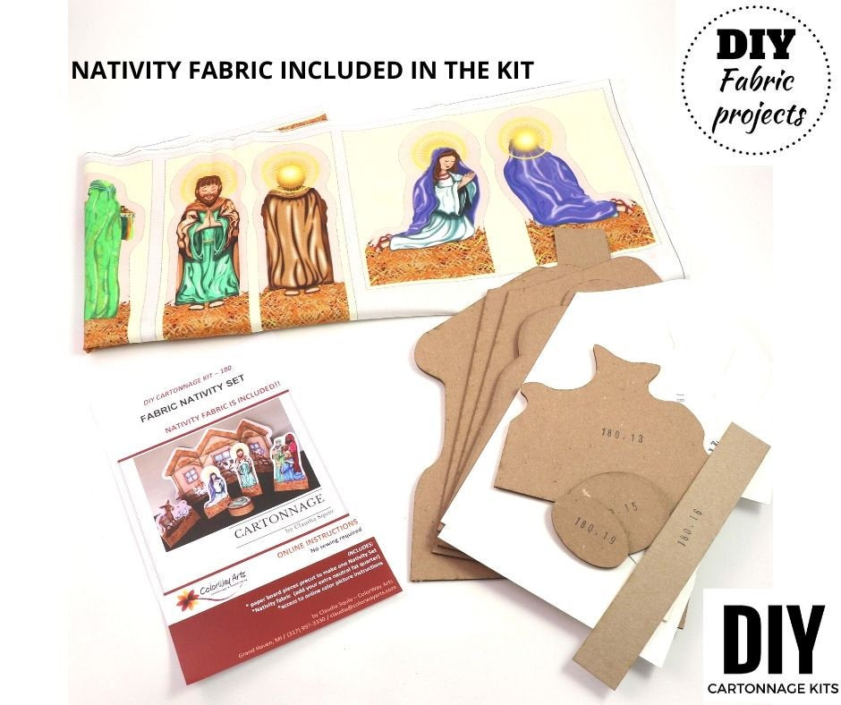 Fabric Nativity set DIY kit, fabric Nativity, cartonnage kit 180, online instructions included - Colorway Arts
