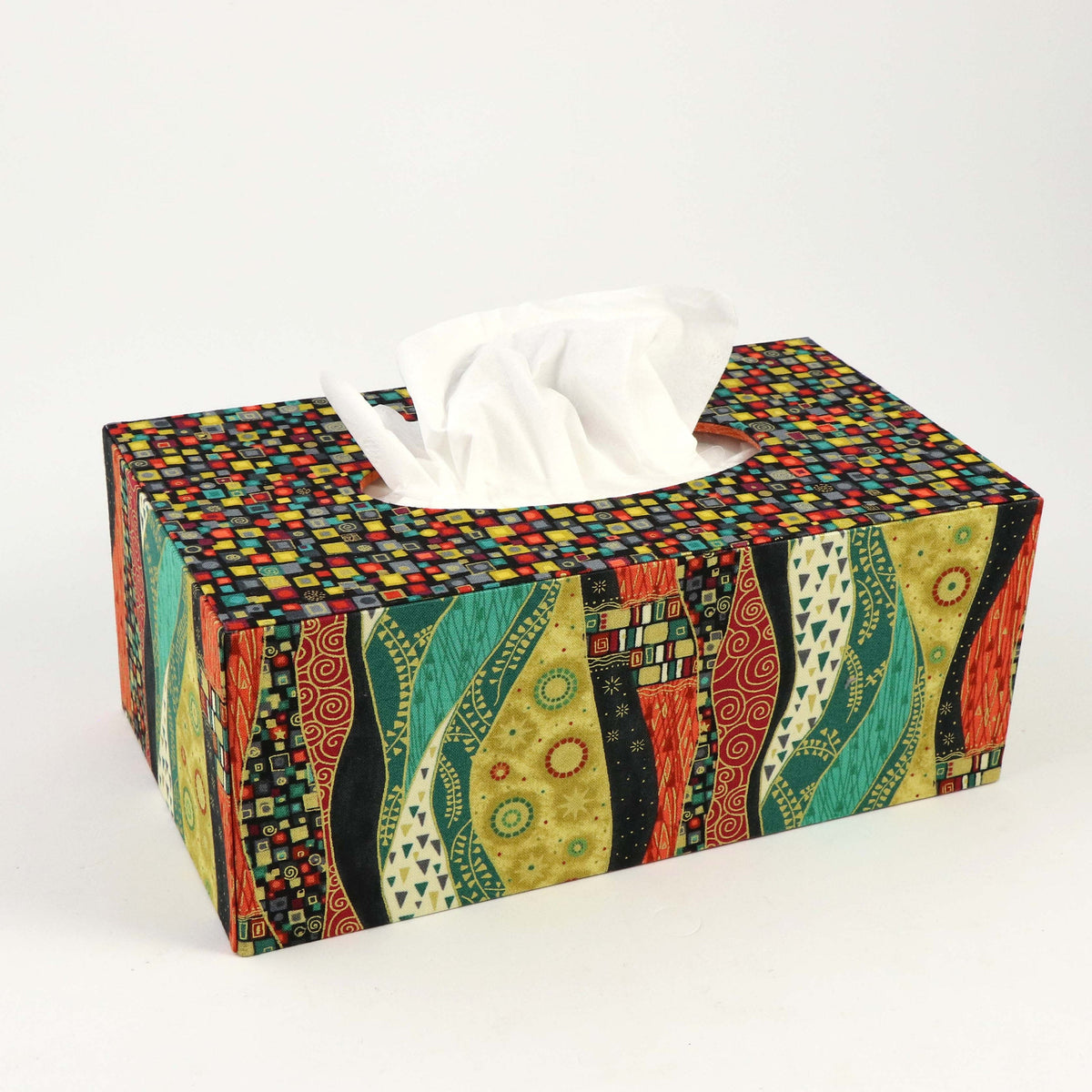 Fabric rectangular tissue box cover DIY kit, cartonnage kit 181, online instructions included - Colorway Arts