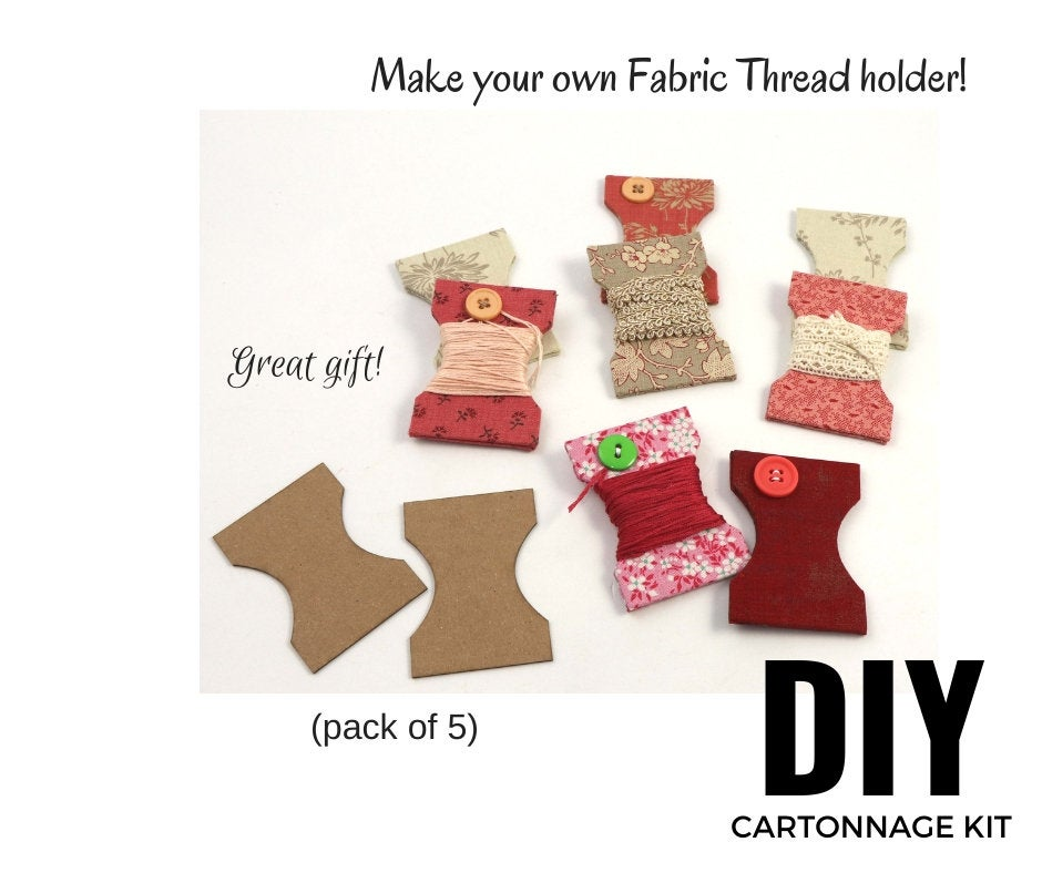DIY fabric thread holder, pack with 5, cartonnage kit 112, free online instructions - Colorway Arts