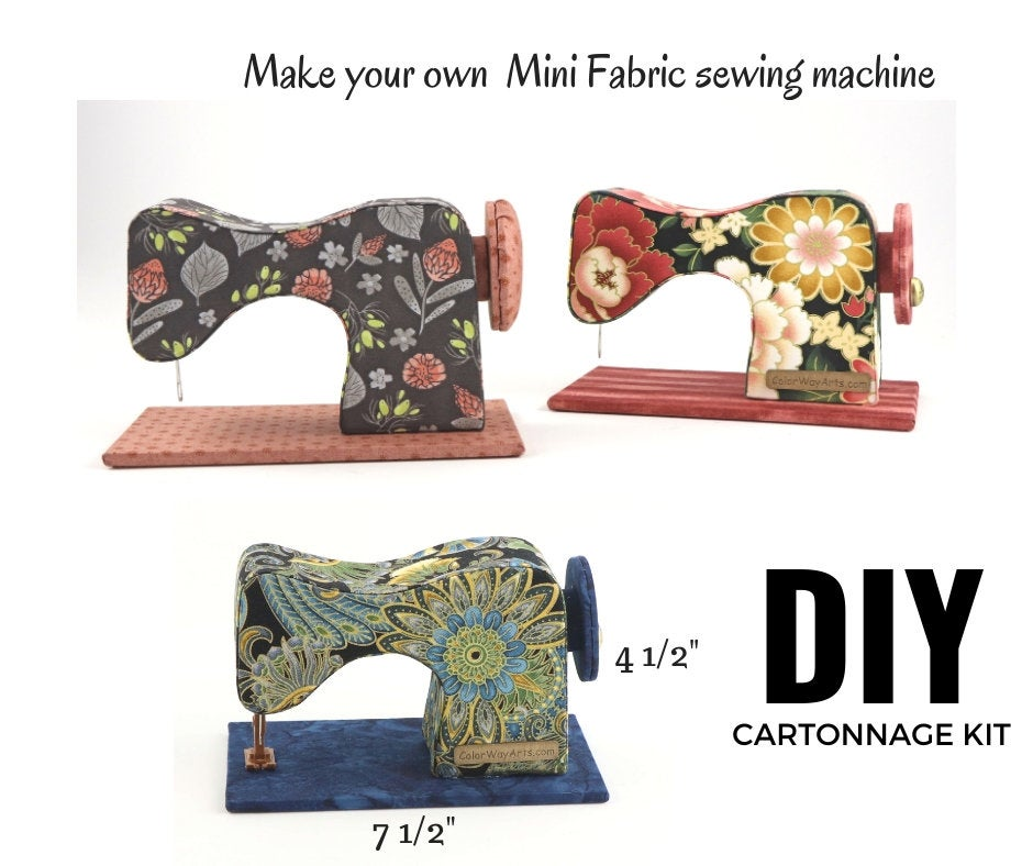 MINI fabric sewing machine DIY kit, cartonnage kit 156, online instructions included - Colorway Arts