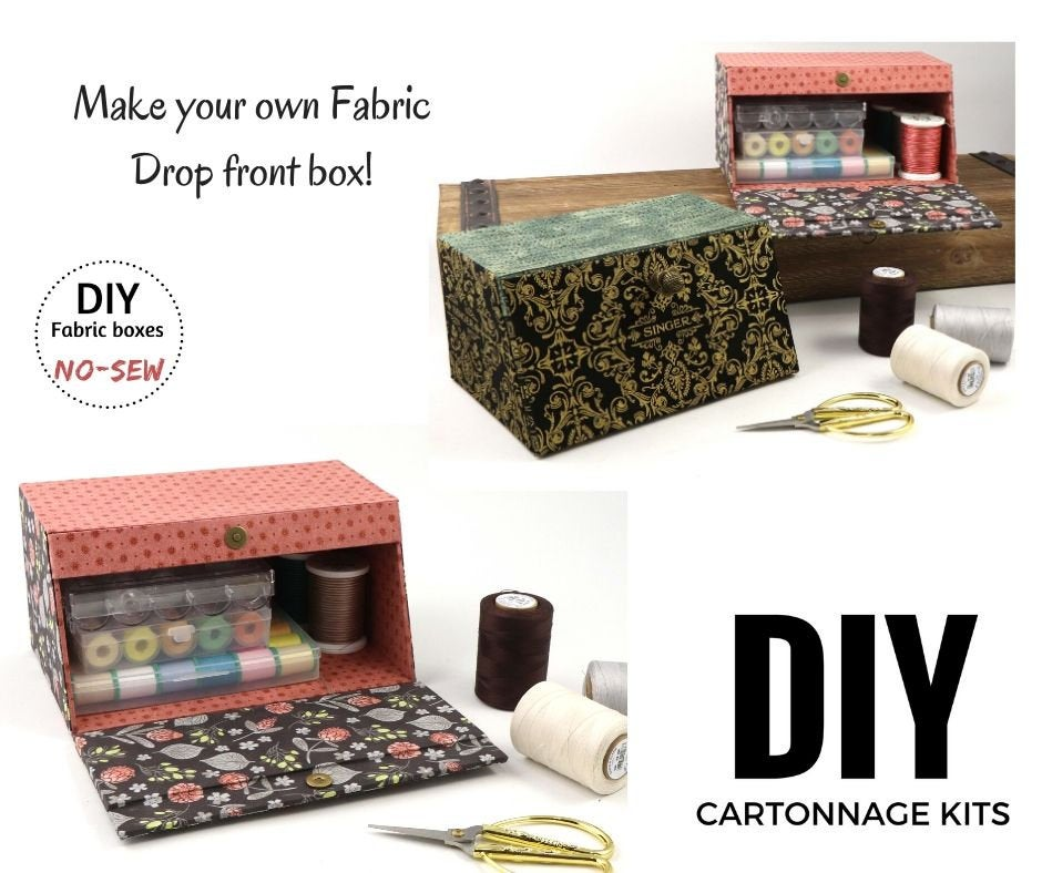 Fabric drop front box DIY kit, cartonnage kit 184, online instructions included - Colorway Arts