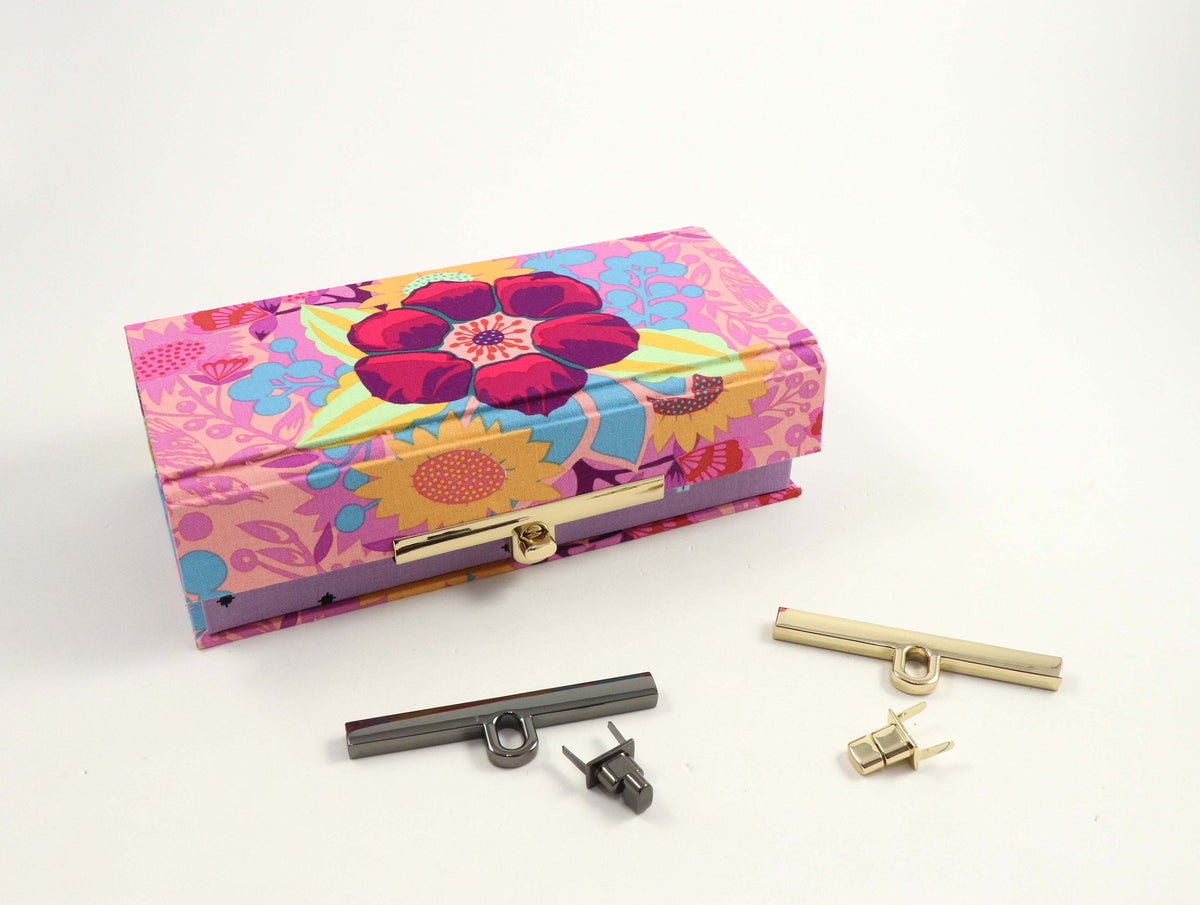 "Metal clasp twist lock, box clasp, bag clasp, clasp 3 3-4"" (9.5 cm), HD04 - Colorway Arts"