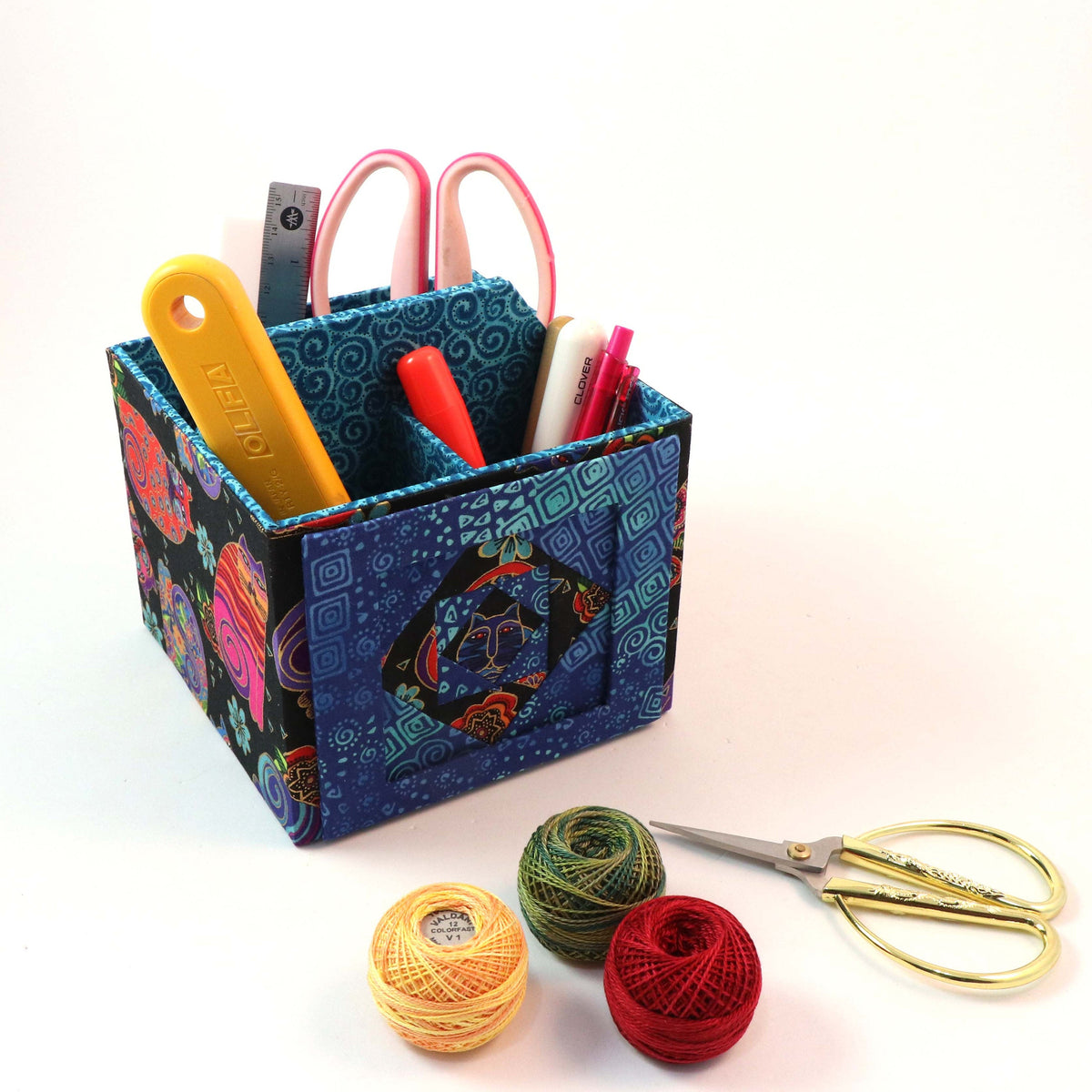 Fabric photo art caddy DIY kit, picture cube, photo caddy, cartonnage kit 185, Online instructions included - Colorway Arts