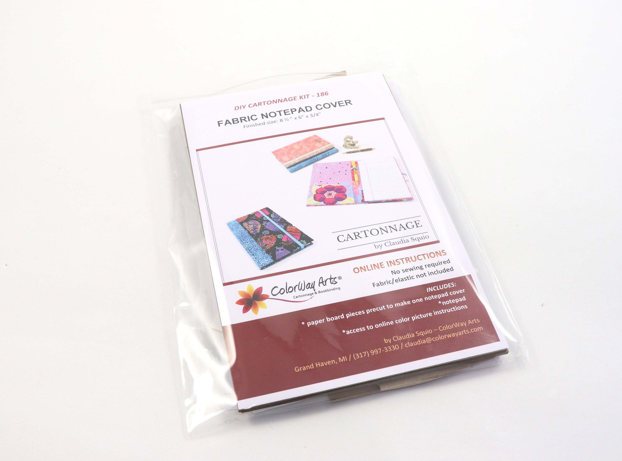 Fabric notepad cover DIY kit,  cartonnage kit 186, Online instructions included - Colorway Arts