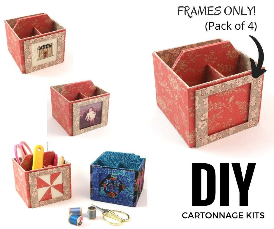 DIY kit Fabric frame, cartonnage kit 115, set of 4 frames, frames only, Online instructions included - Colorway Arts