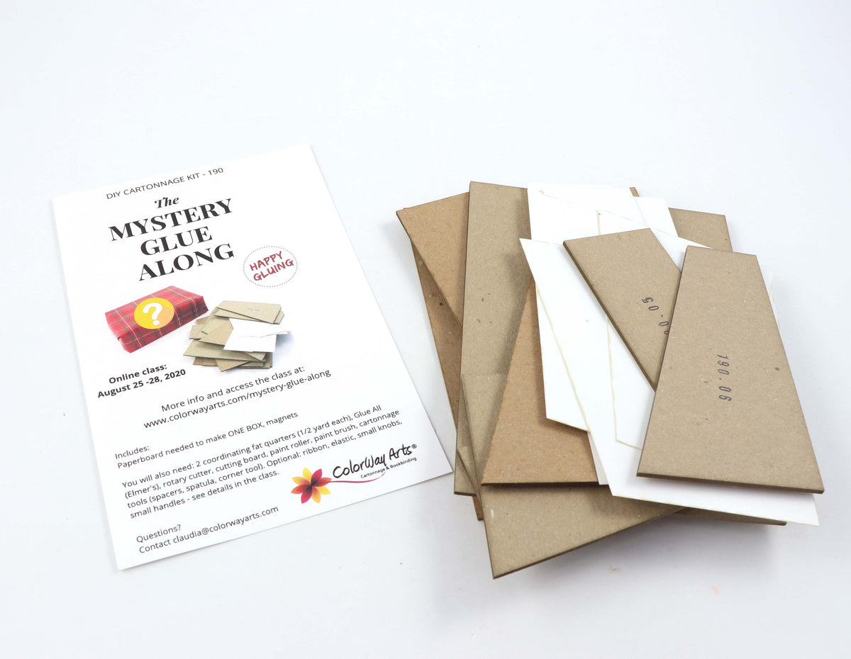 Mystery Glue Along DIY kit,  cartonnage kit 190, instructions NOT included - Colorway Arts