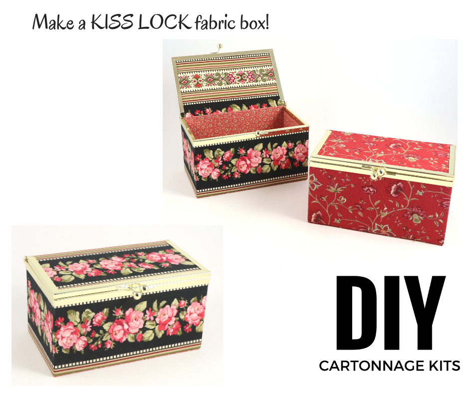 Kiss lock fabric box DIY kit, medium fabric box kit, cartonnage kit 196 - Colorway Arts