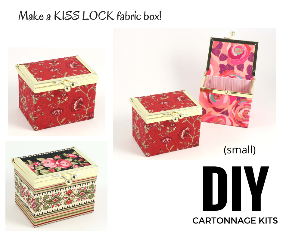 Kiss lock fabric box DIY kit, SMALL fabric box kit, cartonnage kit 197 - Colorway Arts