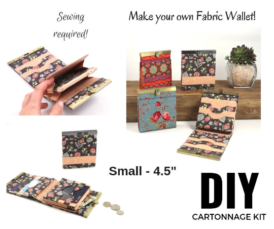 "Fabric wallet diva frame, fabric cartonnage wallet, cartonnage kit 169, fabric wallet small - 4.5"", online instructions included - Colorway Arts"