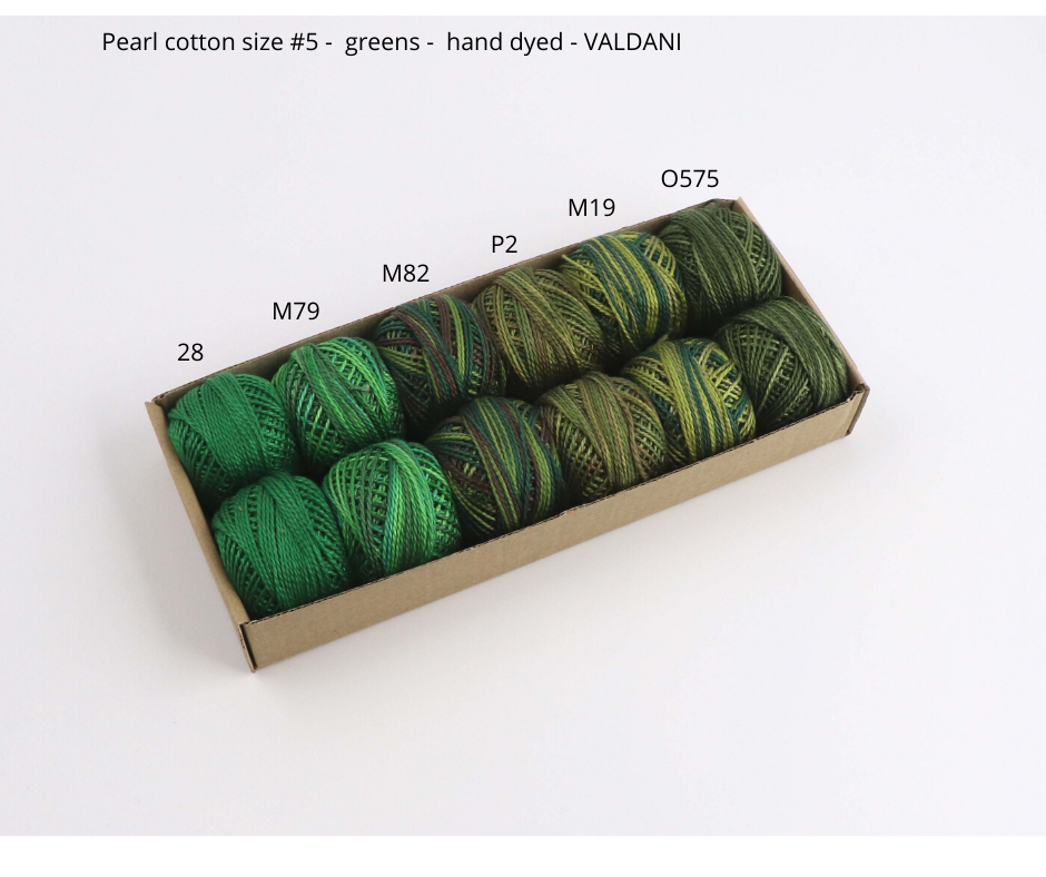 Pearl cotton VALDANI thread size #5 (greens) - Colorway Arts