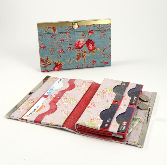 "Fabric wallet diva frame, fabric cartonnage wallet, cartonnage kit 168, big fabric wallet - 7.5"", online instructions included - Colorway Arts"
