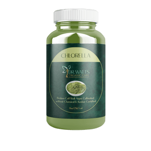 dr watts organic care organic chlorella in a green bottle white top