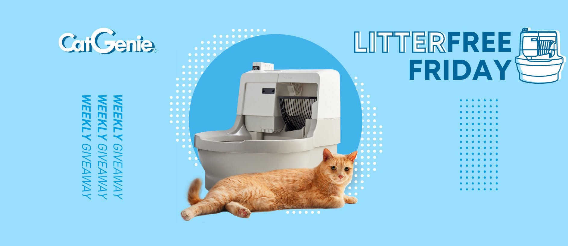 CatGenie LitterFree Friday Giveaway Every Week Win a $100 gift card for a CatGenie A.I.