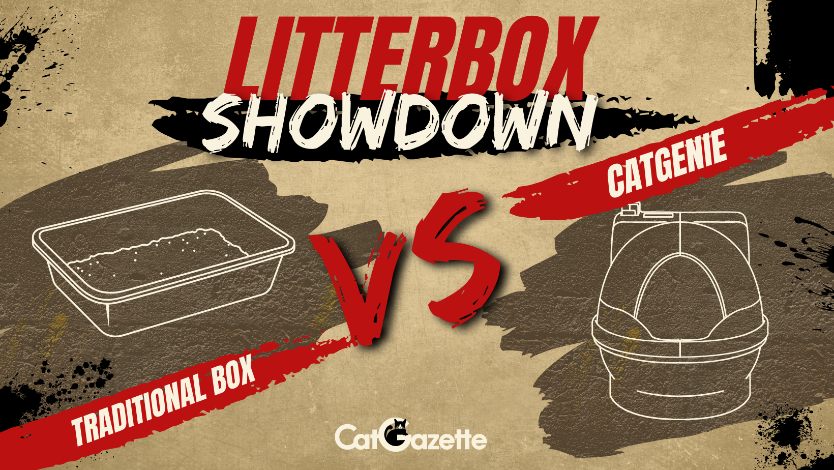 Poster image featuring a versus drawing of a traditional cat litter box and a drawing of the CatGenie.