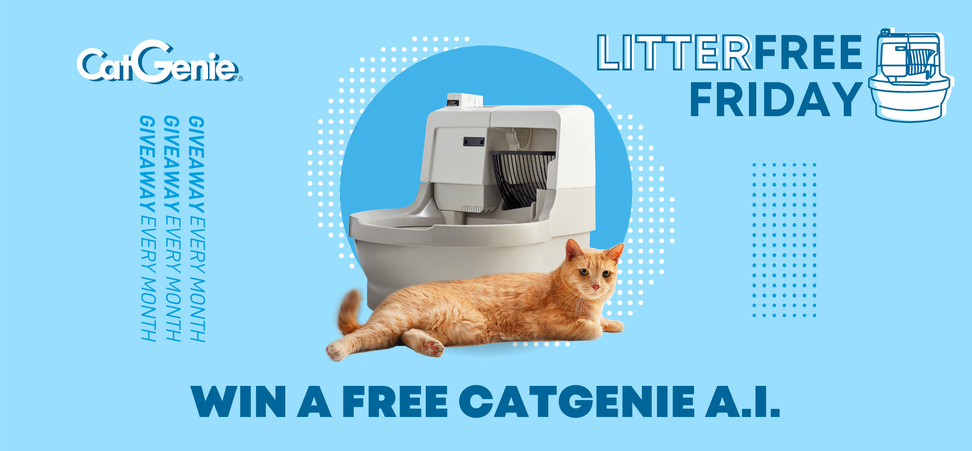 CatGenie LitterFree Friday Giveaway Every Month Win a free CatGenie A.I.