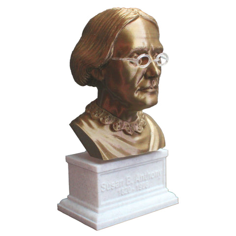 Susan B Anthony American Social Reformer and Women's Rights Activist Sculpture Bust on Box Plinth