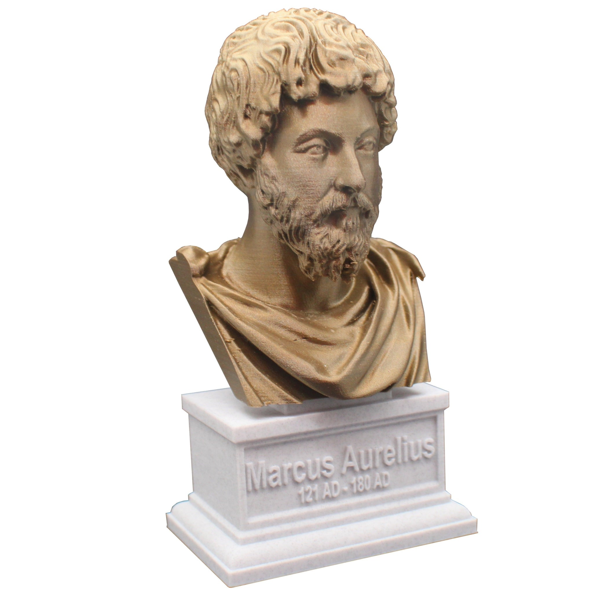 Marcus Aurelius Roman Emperor and Philosopher Sculpture Bust on Box Plinth