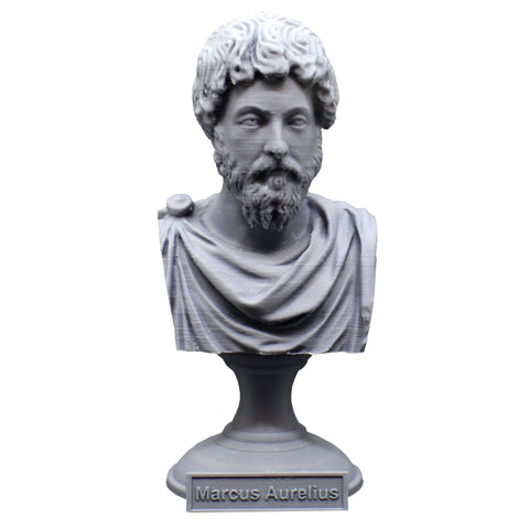 Marcus Aurelius Roman Emperor and Philosopher Sculpture Bust on Pedestal