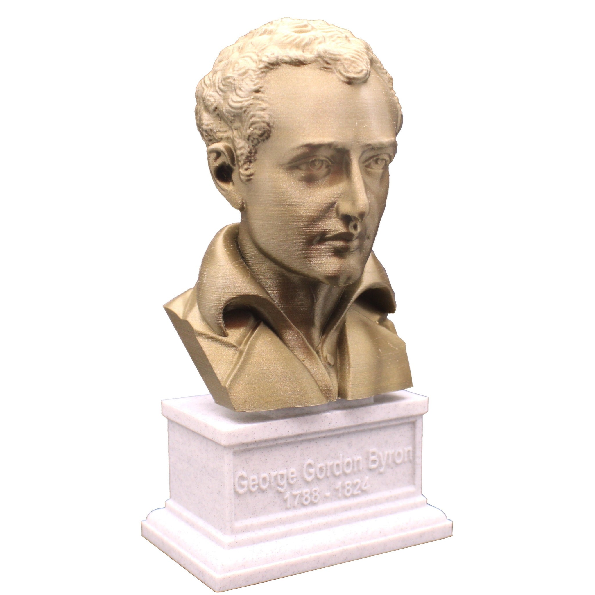 George Gordon Byron (Lord Byron), English Poet, Politician, and Revolutionary, Sculpture Bust on Box Plinth