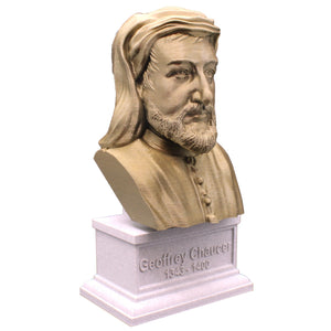Geoffrey Chaucer, Famous English Poet, Sculpture Bust on Box Plinth