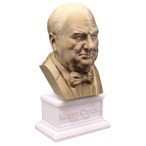 Winston Churchill British Statesman, Army Officer, Writer, and Prime Minister Sculpture Bust on Box Plinth
