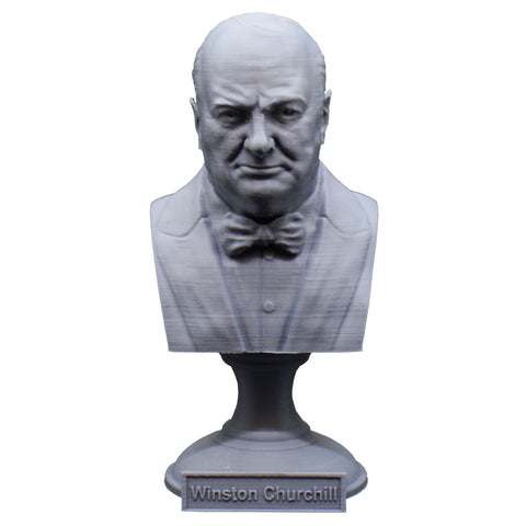 Winston Churchill British Statesman, Army Officer, Writer, and Prime Minister Sculpture Bust on Pedestal