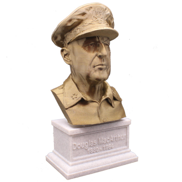 Douglas MacArthur Legendary US Army General Sculpture Bust on Box Plinth