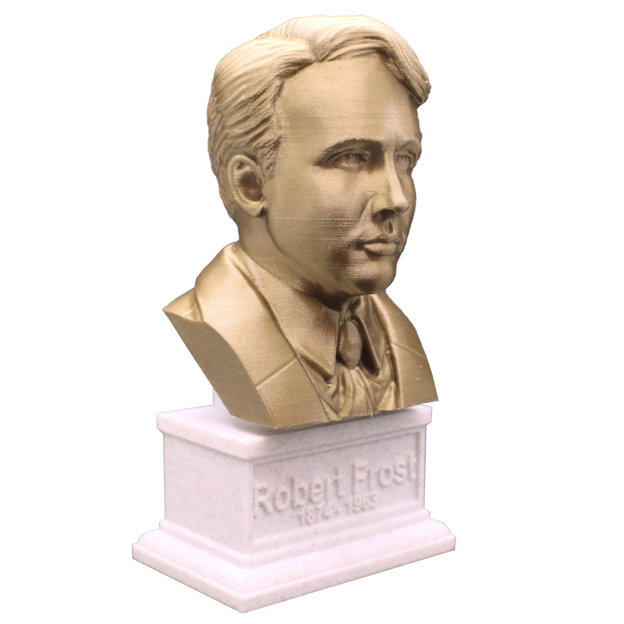 Robert Frost, American Poet, Sculpture Bust on Box Plinth