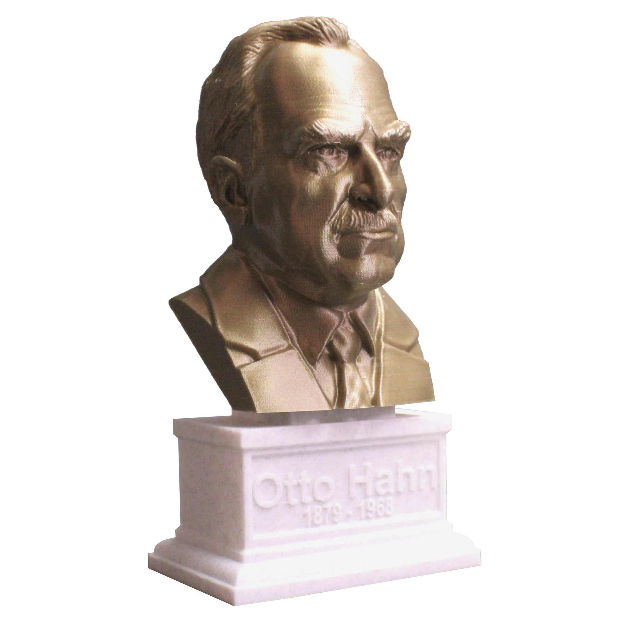 Otto Hahn Famous German Chemist, Nobel Prize Winner, and Researcher of Radioactivity Sculpture Bust on Box Plinth