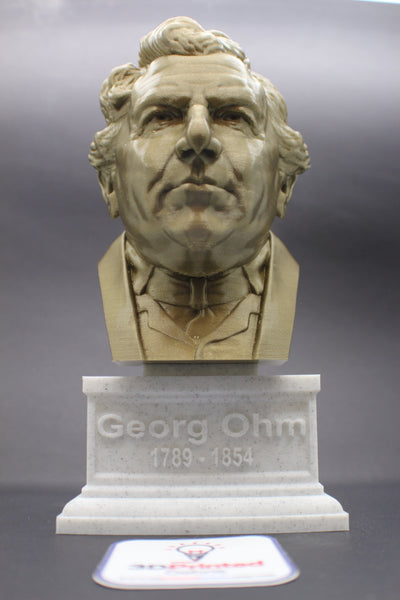 Georg Ohm Famous German Physicist and Mathematician Sculpture Bust on Box Plinth