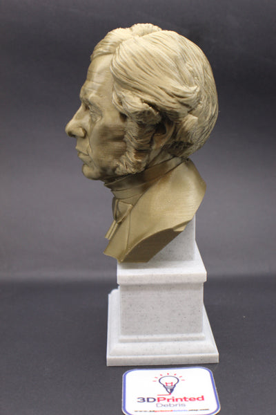 Michael Faraday Famous British Electromagnetic and Electrochemical Scientist Sculpture Bust on Box Plinth