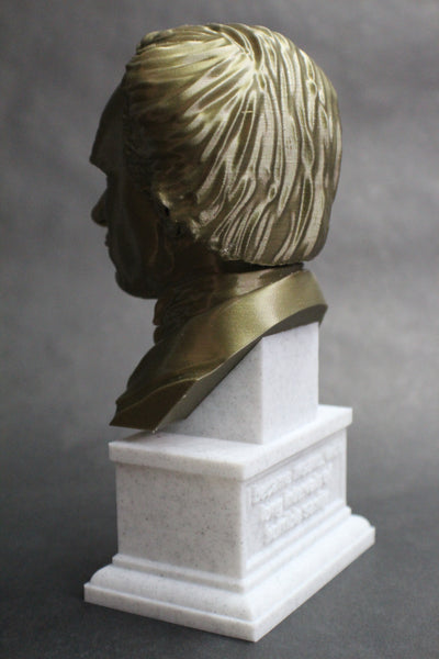 Edgar Allan Poe, Famous American Writer and Literary Critic, Sculpture Bust on Box Plinth