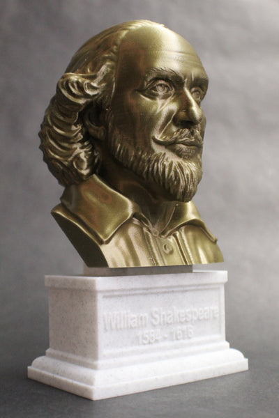 William Shakespeare, English Poet, Playwright, and Actor, Sculpture Bust on Box Plinth