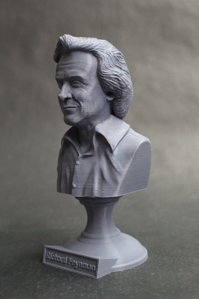 Richard Feynman Famous American Physicist and Mathematician Sculpture Bust on Pedestal