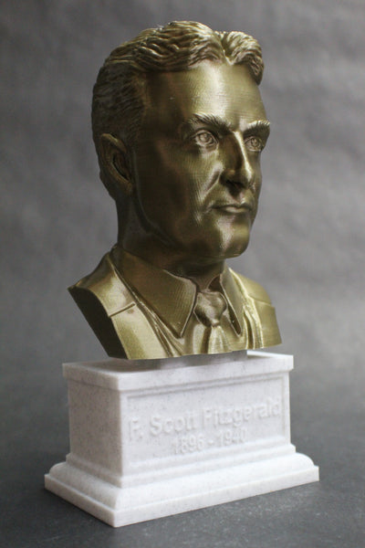 F Scott Fitzgerald, Famous American Writer, Sculpture Bust on Box Plinth