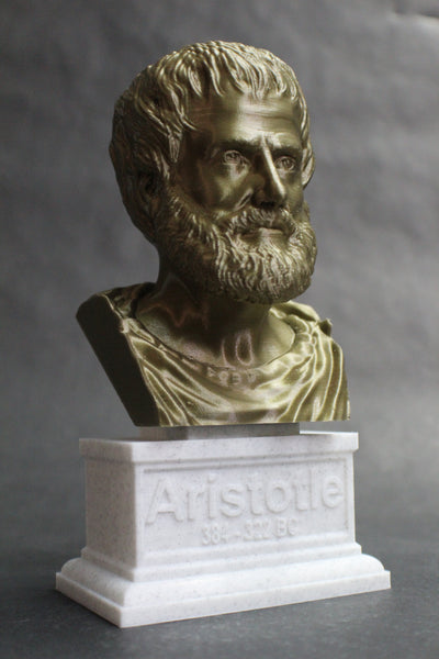 Aristotle Greek Philosopher Sculpture Bust on Box Plinth