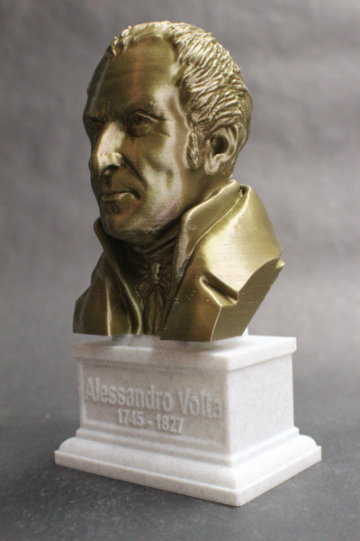 Alesandro Volta Italian Pioneer of Electricity and Power Sculpture Bust on Box Plinth