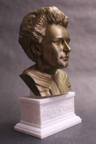 Marie Curie Polish Chemist, Nobel Prize Winner, and Researcher of Radioactivity Sculpture Bust on Box Plinth