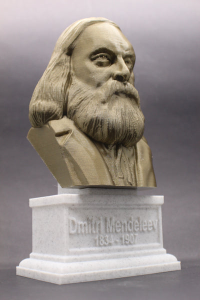 Dmitri Mendeleev Famous Russian Chemist and Inventor Sculpture Bust on Box Plinth
