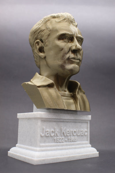 Jack Kerouac, Famous American Novelist, Sculpture Bust on Box Plinth