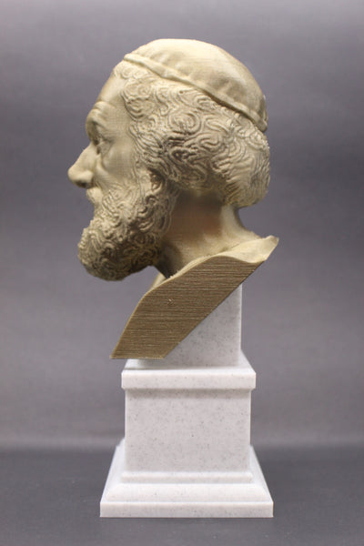 Homer Greek Author of Iliad and The Odyssey Sculpture Bust on Box Plinth