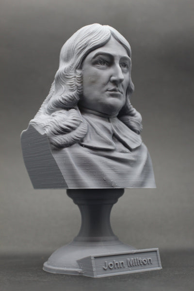 John Milton English Poet Sculpture Bust on Pedestal
