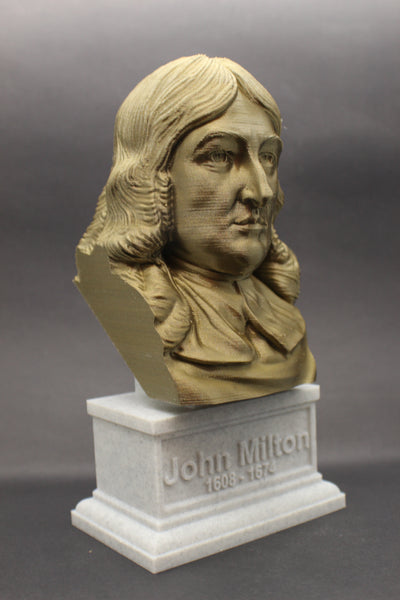 John Milton, Famous English Poet and Intellectual, Sculpture Bust on Box Plinth