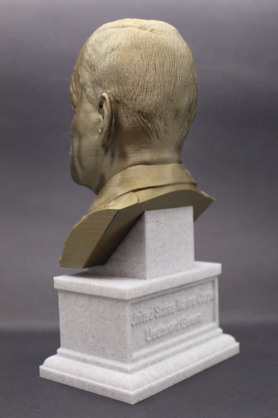 "Lewis Burwell ""Chesty"" Puller Legendary US Marine Corps General Sculpture Bust on Box Plinth"