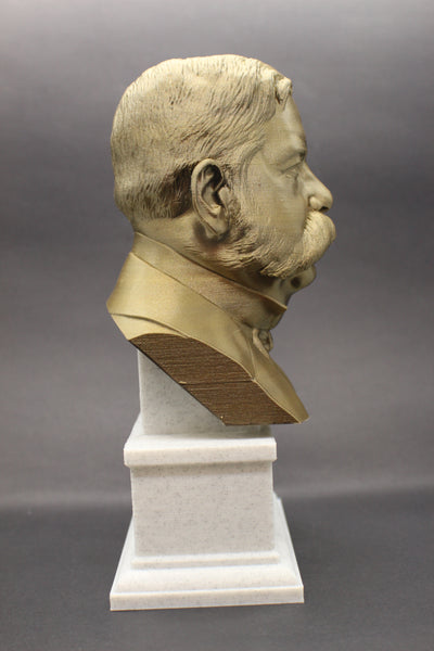 George Westinghouse Jr. Famous American Businessman and Engineer Sculpture Bust on Box Plinth
