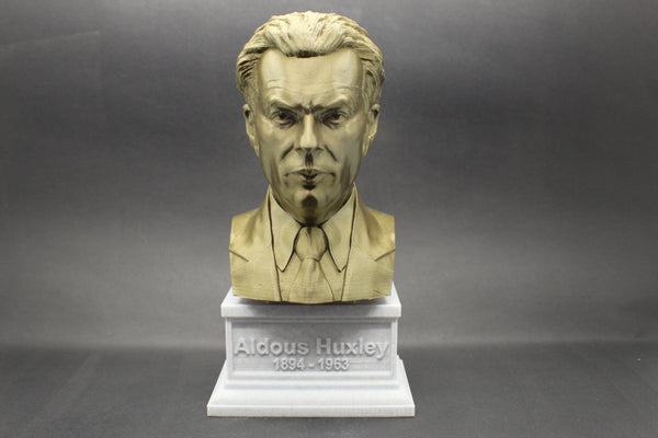Aldous Huxley, Famous English Writer and Philosopher, Sculpture Bust on Box Plinth