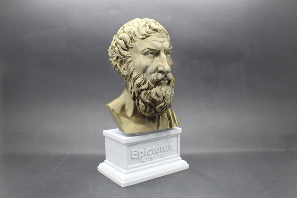 Epictetus Greek Stoic Philosopher Sculpture Bust on Box Plinth