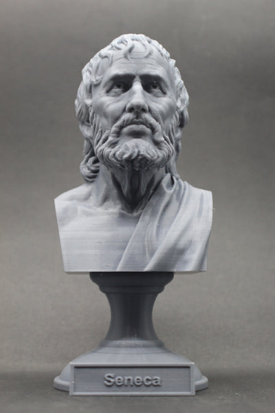 Seneca the Younger Greek Stoic Philosopher Sculpture Bust on Pedestal